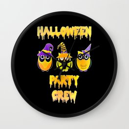 Halloween party crew owls Scary owl Wall Clock