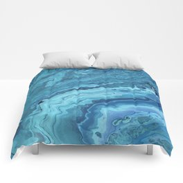 Teal Geode: Acrylic Pour Painting Comforters