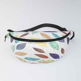 Autumn Foliage - Pretty Leaves on White Fanny Pack