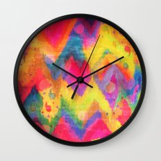 BOLD QUOTATION in NEONS 2 - Intense Rainbow Abstract Watercolor Art Painting Dream Pink Ikat Pattern Wall Clock