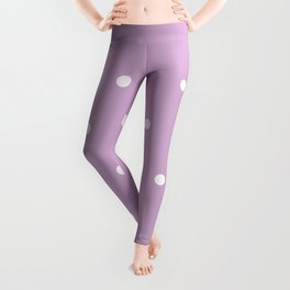 Polka Dots Lavender Lilac Purple Leggings