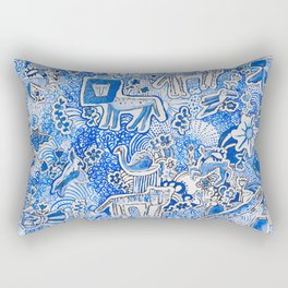 Delft Blue and White Pattern Painting with Lions and Tigers and Birds Rectangular Pillow