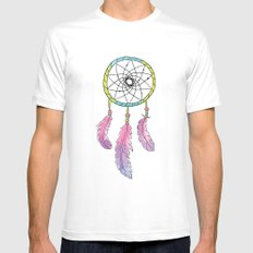 Tribal Dream Catcher White Mens Fitted Tee MEDIUM