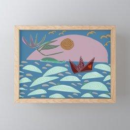 flying flower in whale horizon Framed Mini Art Print