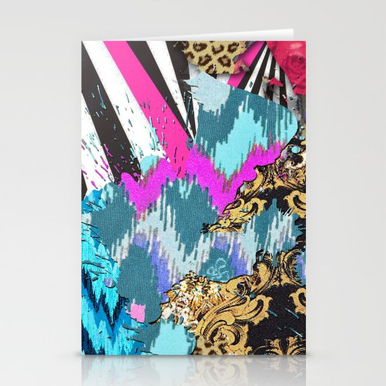 Fashion | Chic aztec pink teal zebra stripes leopard pattern Stationery Cards