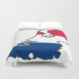 Netherlands Map with Dutch Flag Duvet Cover