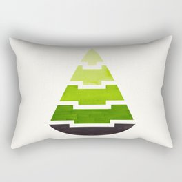 Sap Green Watercolor Minimalist Mid Century Modern Tribal Aztec Pyramid Pattern Rectangular Pillow