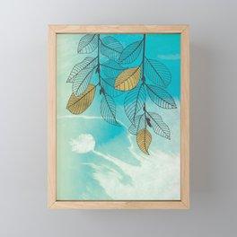 Leaves under cyan sky Framed Mini Art Print