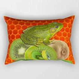 GREEN FROG & KIWI FRUIT PATTERNED RED ART Rectangular Pillow