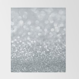 White & Silver Glitter Sparkle Throw Blanket
