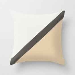 Brown Tan White Diagonal Stripe Pattern 2021 Color of the Year Urbane Bronze and Accent Shades Throw Pillow