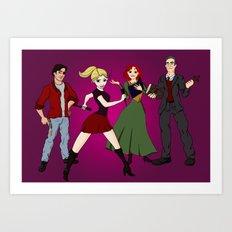 Cartoony Buffy and the gang Art Print