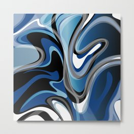 Liquify in Denim, Navy Blue, Black, White // Version 2 Metal Print