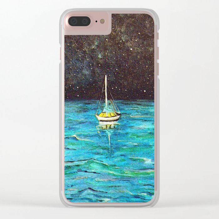 Sailboat Under The Stars Clear iPhone Case