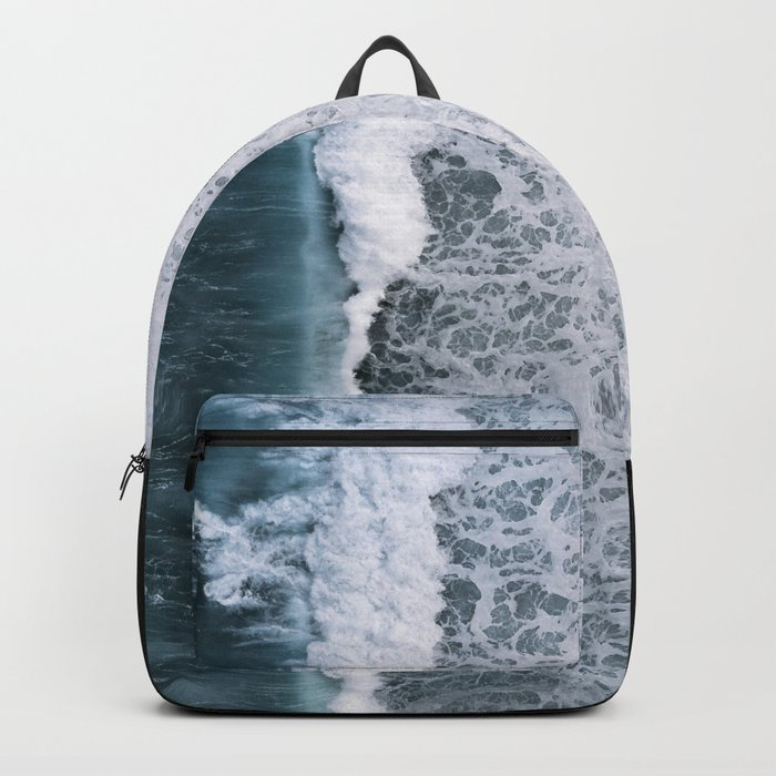 Aerial of a Black Sand Beach with Waves - Oceanscape Rucksack