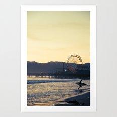 Santa Monica Surfer Art Print