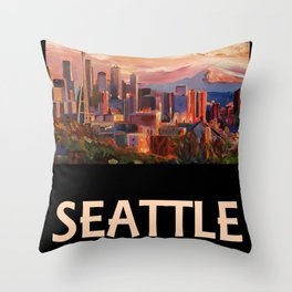 Retro Travel Poster Seattle Washington Throw Pillow
