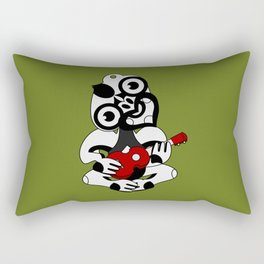 Black and Grey Hei Tiki playing a Ukulele Rectangular Pillow