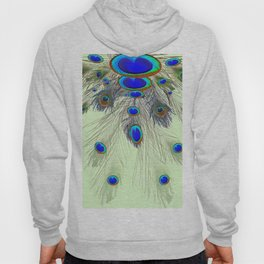 DECORATIVE BLUE GREEN PEACOCK FEATHER & JEWELS #3 PATTERN Hoody