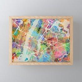 New York City Street Map Framed Mini Art Print