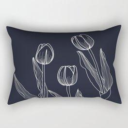 Negative Tulips Rectangular Pillow