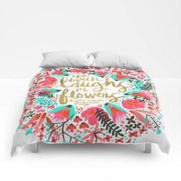 The Earth Laughs in Flowers – Pink & Gold Comforters