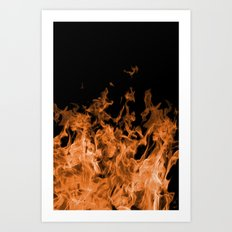 Orange Flame on Black Art Print