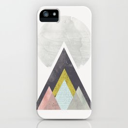 Mountains and sun - geometric abstract with watercolor texture iPhone Case