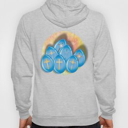 Blue eggs and crosses on pastel textured background Hoody