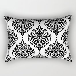 Black and White Damask Rectangular Pillow
