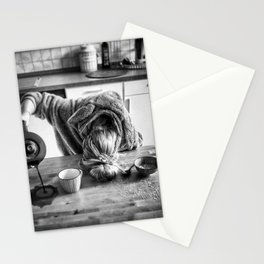 First I Drink the Coffee, Then I do the Stuff - hangover black and white photograph / photography Stationery Cards