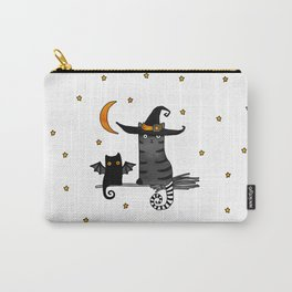 2 cats – Bat and Wizard on a broomstick for Halloween Carry-All Pouch