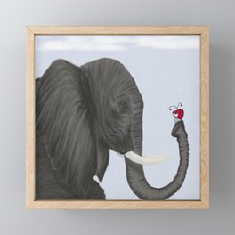 Bertha The Elephant And Her Visitor Framed Mini Art Print