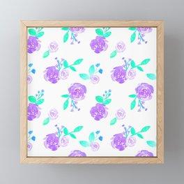 Purple Watercolor Rose Garden Print Framed Mini Art Print
