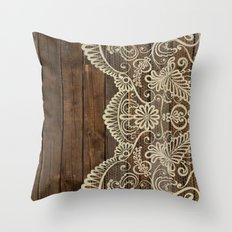 WOOD & LACE Throw Pillow
