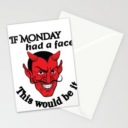 Monday Humor If Monday Had a Face Devil Face Sarcastic Gift Stationery Cards