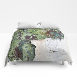 white green paint rust metal texture pattern Comforters