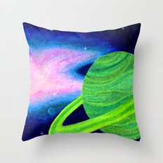 Green Planet, Pink Nebula Throw Pillow