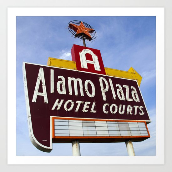Alamo Plaza Hotel Courts (Square) Art Print