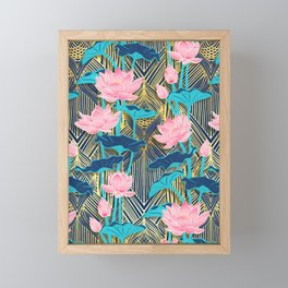 Art Deco Lotus Flowers in Pink & Navy Framed Mini Art Print
