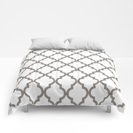 Moroccan Quatrefoil Pattern: Neutral Brown Comforters