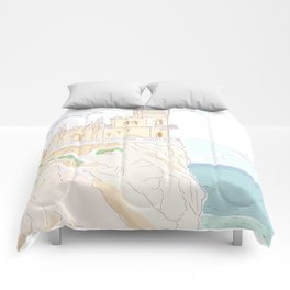 Old medieval castle. Wall art. Comforters