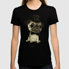 Pug (gentle pug). Womens Fitted Tee Black SMALL