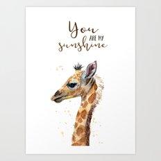 You Are My Sunshine Giraffe Nursery Animals Watercolor Art Art Print