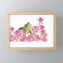 Lotos - Lotus Flower Frog Illustration Framed Mini Art Print