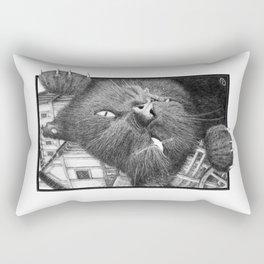 Malevolent One Eyed Black Cat in a Medieval Village Rectangular Pillow