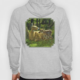Whitetail Deer and Cute Spring Fawn Hoody