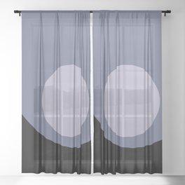 Full Moon Minimalism - Blue Sheer Curtain