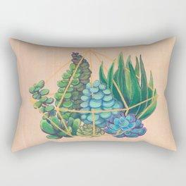 Geometric Terrarium 1 Acrylic on Wood Painting Rectangular Pillow
