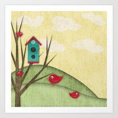Shabby Sweet Tweet On The Hillside Art Print